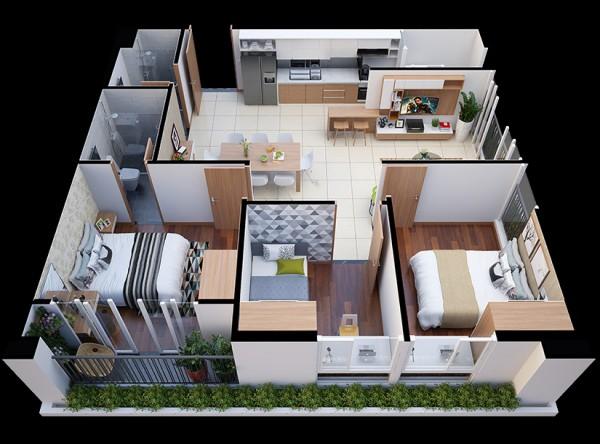 mẫu căn hộ 3 phòng ngủ dự án diamond lotus lake view